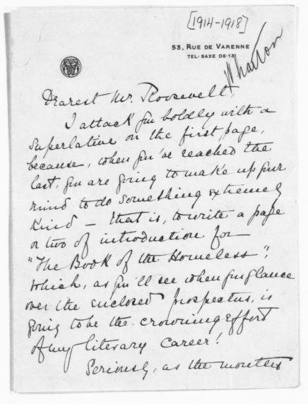 Edith Wharton to Theodore Roosevelt, from the Library of Congress Theodore Roosevelt Papers