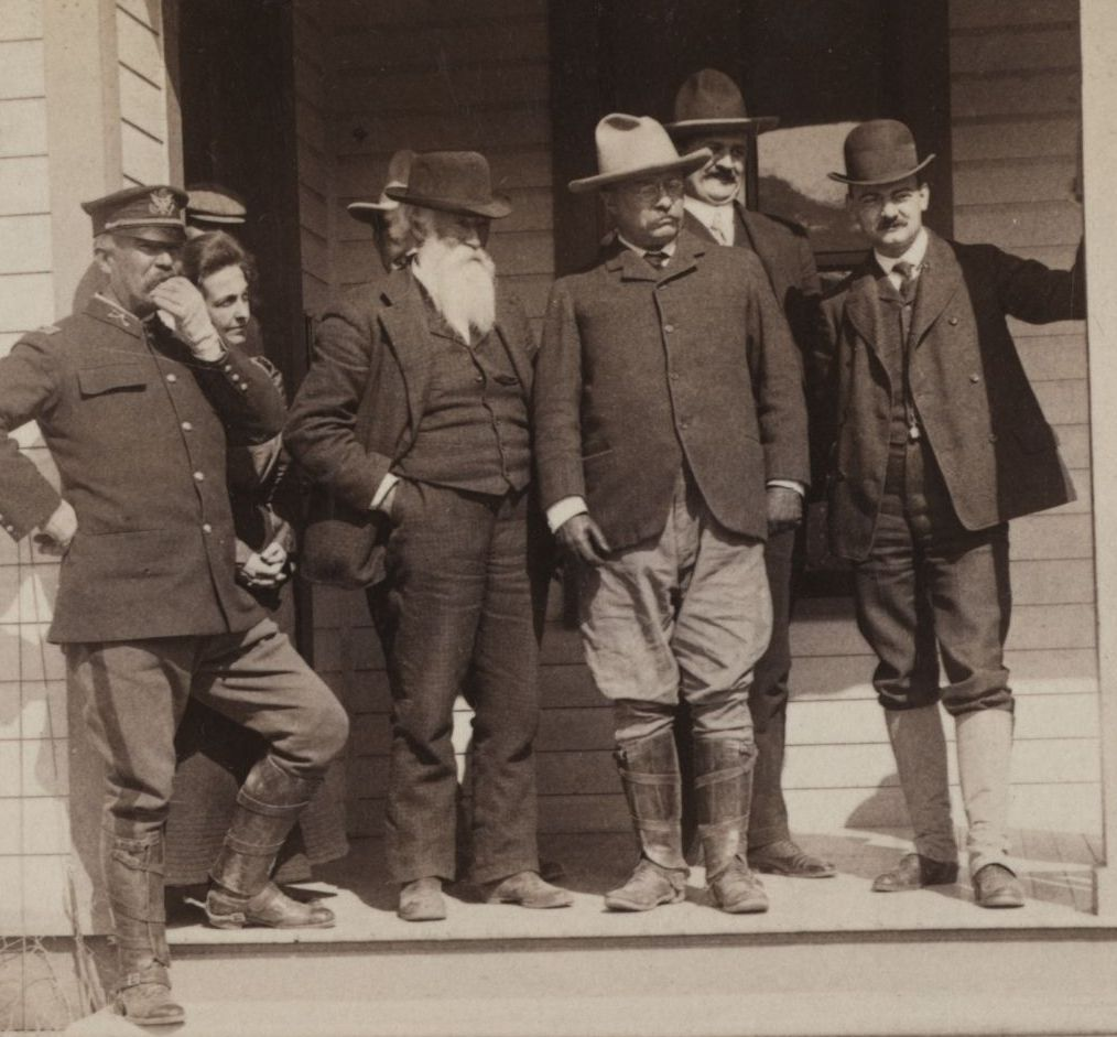 Theodore Roosevelt and John Burroughs at Fort Yellowstone in 1903. From the Library of Congress Prints and Photographs division.