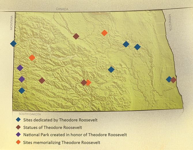 North Dakota map with Theodore Roosevelt sites