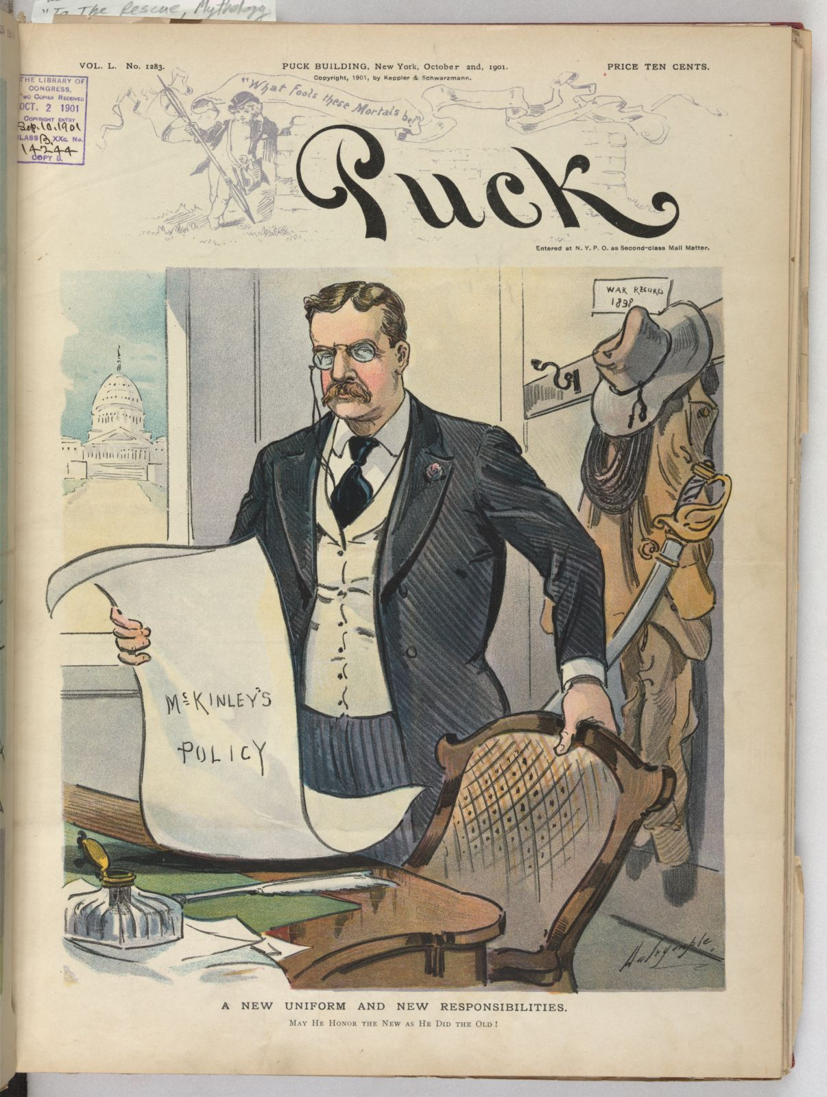 Cover from the October 2, 1901 edition of Puck as Theodore Roosevelt took over the duties of President after the assassination of President William McKinley. From the Library of Congress Prints and Photographs division.