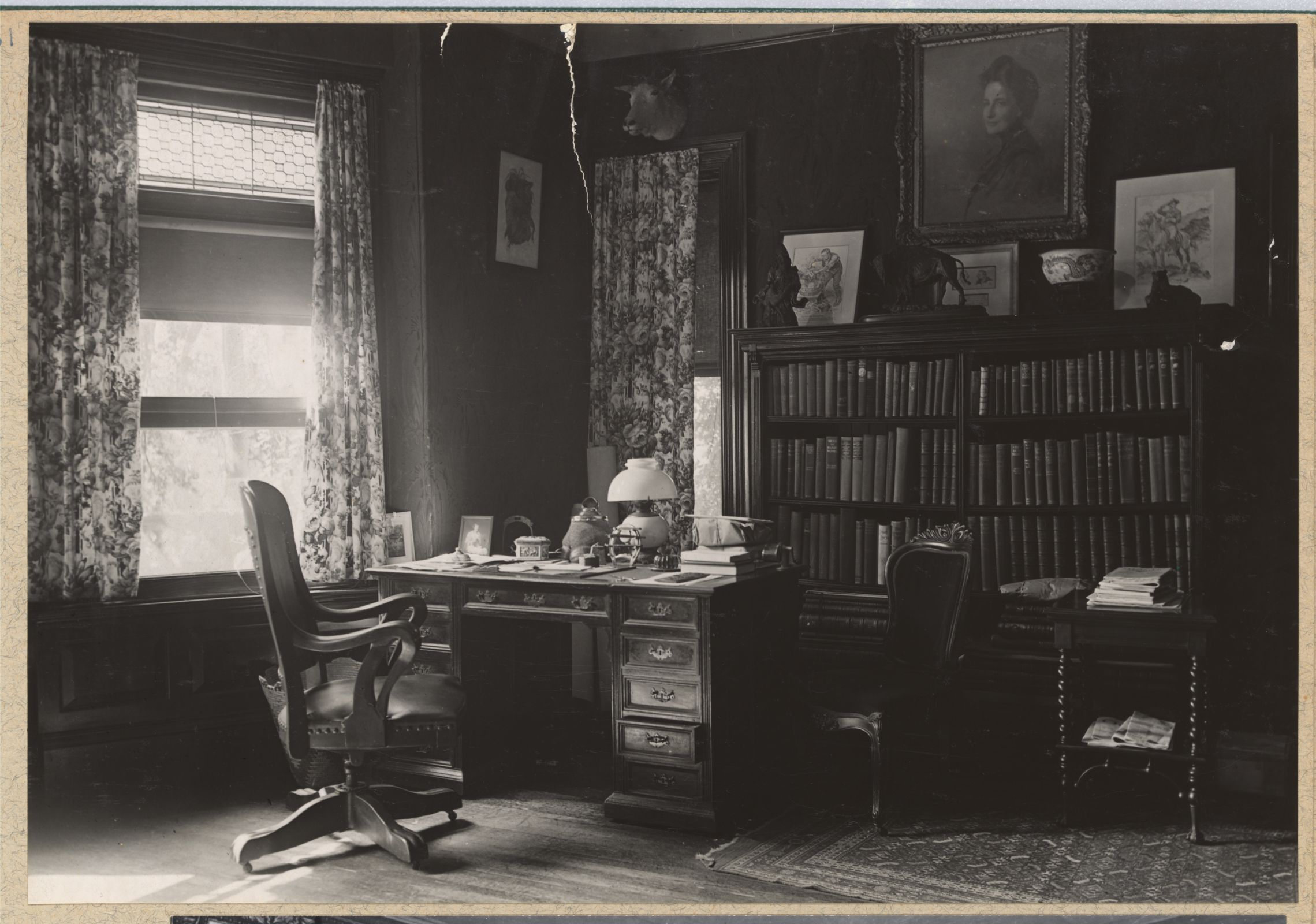 Theodore Roosevelt's desk in his library at Sagamore Hill circa 1912. From the Roosevelt Family albums, Library of Congress Prints and Photographs division.