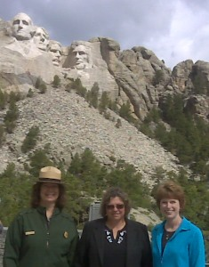 Project Manager Sharon Kilzer with National Park Superintendents Cheryl Schreier of Mount Rushmore and Valerie Naylor of Theodore Roosevelt National Park