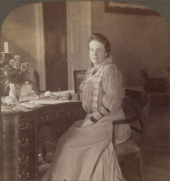 Edith Roosevelt at her writing desk in the remodeled White House, 1903
