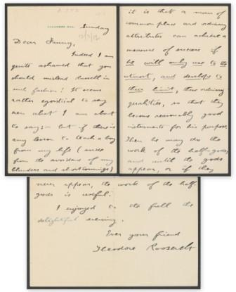 Letter from Theodore Roosevelt to Frances Theodora Parsons, December 3, 1912. MS Am 1454.41 (43). Houghton Library, Harvard University.