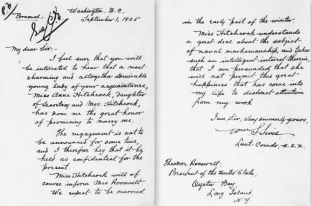 Letter from William S. Sims to Theodore Roosevelt, September 1, 1905.