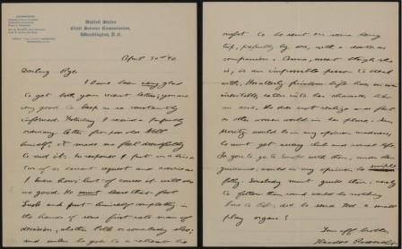 Letter from Theodore Roosevelt to Anna Roosevelt Cowles, April 30 1890. MS Am 1834 (280). Houghton Library. Harvard University.