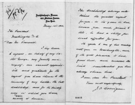 Letter from J.F. Corrigan to Theodore Roosevelt, May 10, 1902.