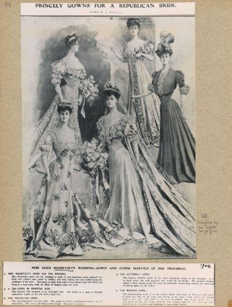 Princely Gowns for a Republican Bride. Page from the Roosevelt Family Albums.