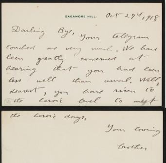 Letter from Theodore Roosevelt to Anna Roosevelt Cowles. October 27, 1918