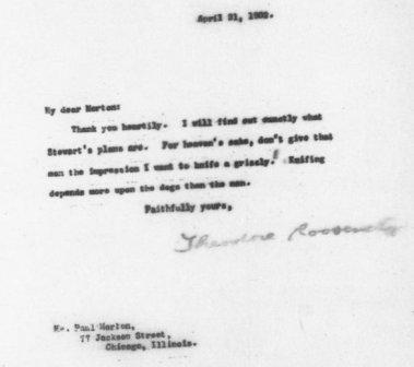 Detail, Letter from Theodore Roosevelt to Paul Morton, 21 April 1902.