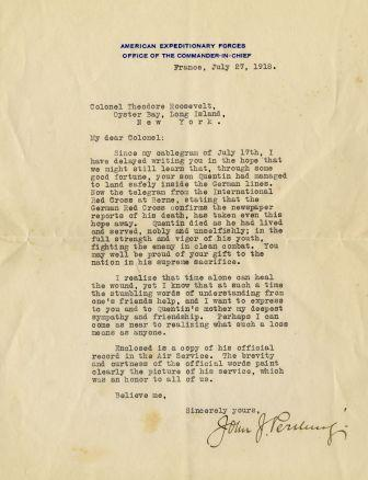 Letter from John J. Pershing to Theodore Roosevelt, July 27, 1918.