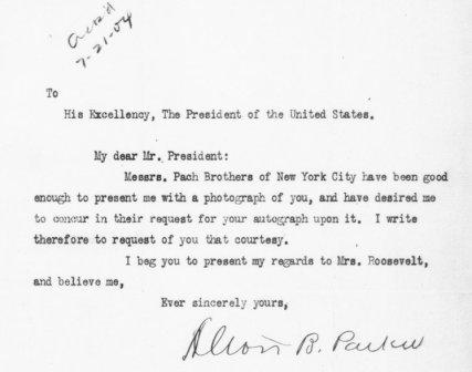 Letter from Alton B. Parker to Theodore Roosevelt, July 25, 1904.
