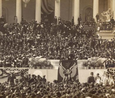 Theodore Roosevelt addresses the crowd after being sworn in as President, March 4, 1905.