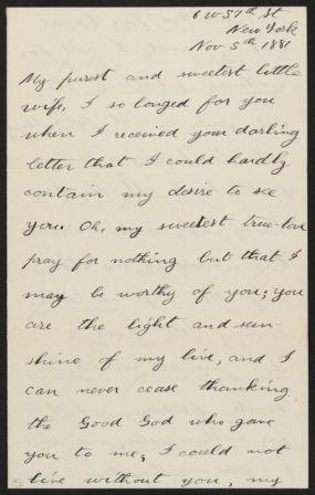 Detail, Letter from Theodore Roosevelt to his wife Alice, 1881. MS Am 1541.9 (93), Theodore Roosevelt Collection, Houghton Library, Harvard University.