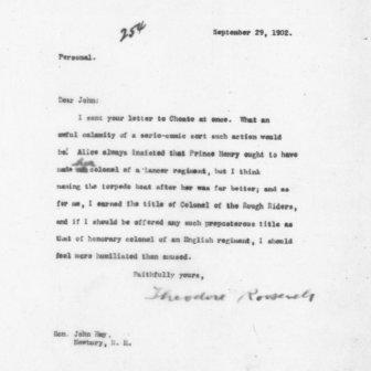 Letter from Theodore Roosevelt to John Hay