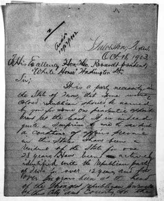 Letter from William H. Noble, Jr. to Theodore Roosevelt