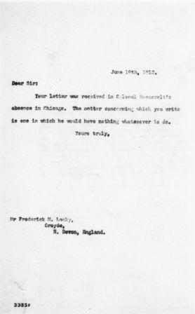 Letter from the Assistant Secretary of Theodore Roosevelt to Frederick H. Leaky