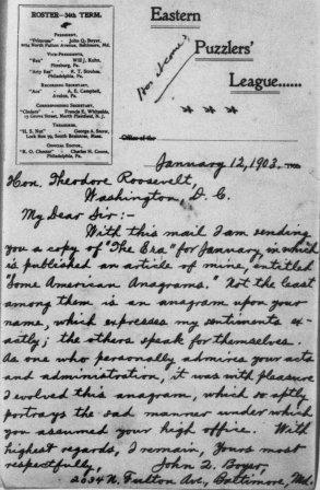 Letter from John Q. Boyer to Theodore Roosevelt
