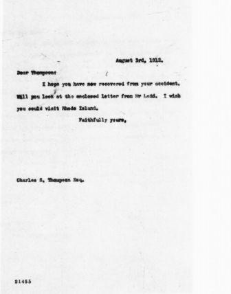 Letter from Theodore Roosevelt to Charles S. Thompson