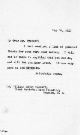 Letter from Theodore Roosevelt to William LeRoy Wyckoff