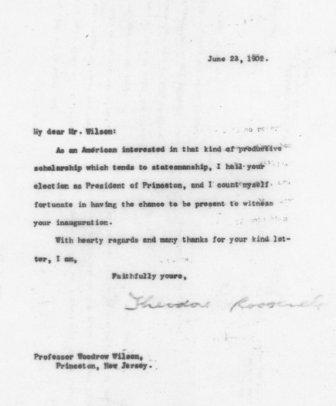 Letter from Theodore Roosevelt to Woodrow Wilson