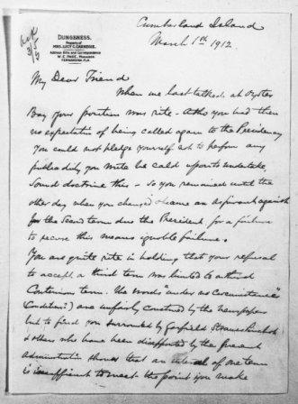 Letter from Andrew Carnegie to Theodore Roosevelt