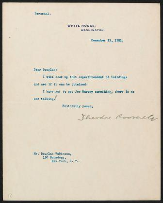 Letter from Theodore Roosevelt to Douglas Robinson