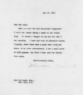 Letter from Theodore Roosevelt to John Burroughs