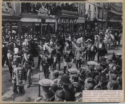 Theodore Roosevelt in the procession of King Edward VII's funeral