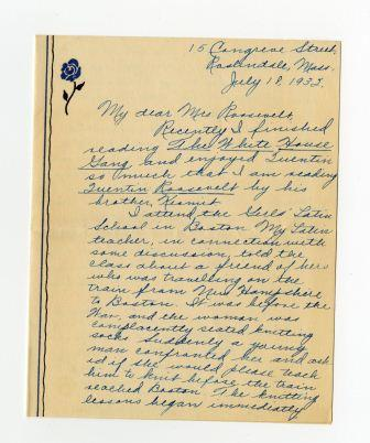 Letter from Betty Kilral to Edith Kermit Carow Roosevelt
