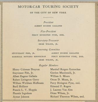 Motor-Car Touring Society invitation