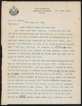 Letter from Theodore Roosevelt to Edward Sanford Martin