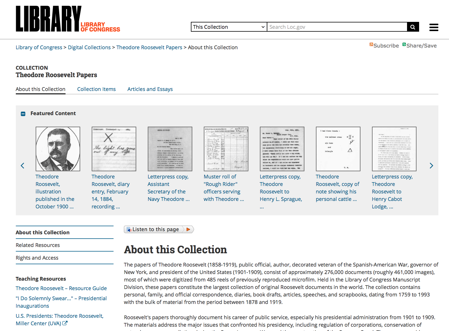 Library of Congress site for Theodore Roosevelt's papers